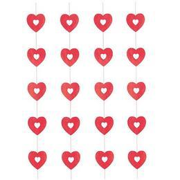 Csillogó Piros Szívek Szerelmes Függő Dekoráció - 4 db-os, 90 cm