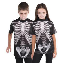 Csontváz Mintás Gyerek Jelmezpóló Halloween-re, 8-10 Éveseknek - 1 db