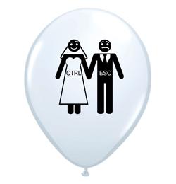 11 inch-es Ctrl + Esc - Menyasszony, Vőlegény White Esküvői Lufi (6 db/csomag)