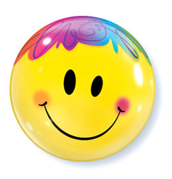 22 inch-es Mosolygó Arc - Bright Smile Face Bubbles Lufi