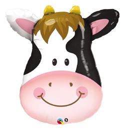 14 inch-es Contented Cow - Mosolygó Tehén Fej Fólia Lufi (5 db/csomag)