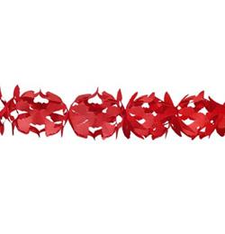 Piros Dekorációs Parti Papír Füzér - 6 m
