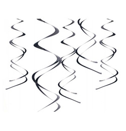 Fekete Spirális Függő Dekoráció - 5 db-os, 60 cm