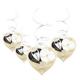 Éljen az ifjú pár! Menyasszony-Vőlegény Arany Esküvői Spirális Függő Dekoráció - 6 db