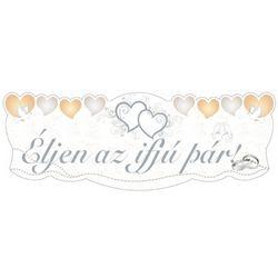 Éljen az ifjú pár! Szívek és Galambok Ezüst Esküvői Banner - 90 cm x 30 cm