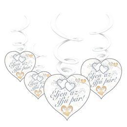 Éljen az ifjú pár! Szívek és Galambok Ezüst Esküvői Spirális Függő Dekoráció - 6 db-o