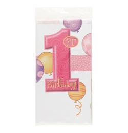 First Birthday Balloons Pink - Első Szülinapi Asztalterítő - 137 cm x 213 cm