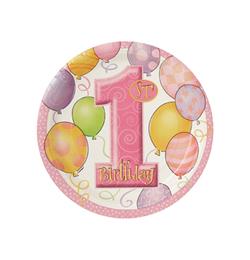 First Birthday Balloons Pink - Első Szülinapi Parti Tányér - 18 cm, 8 db-os