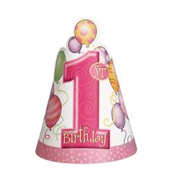 First Birthday Balloons Pink - Első Szülinapi Parti Kalap - 8 db-os
