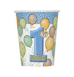 First Birthday Balloons Blue - Első Szülinapi Parti Pohár - 266 ml, 8 db-os