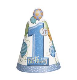 First Birthday Balloons Blue - Első Szülinapi Parti Kalap - 8 db-os