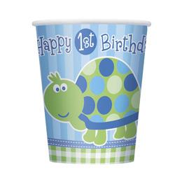 Teknős Mintás - 1st Birthday Turtle Első Szülinapi Parti Pohár - 270 ml, 8 db-os