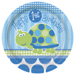 Teknős Mintás - 1st Birthday Turtle Első Szülinapi Parti Tányér - 8 db-os