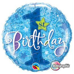 18 inch-es 1st Birthday Stars Blue Első Szülinapi Holografikus Fólia Lufi