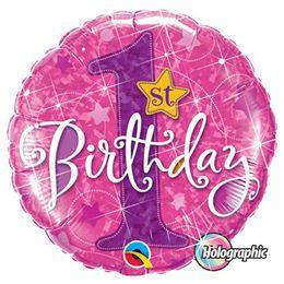 18 inch-es 1st Birthday Stars Pink Első Szülinapi Holografikus Fólia Lufi