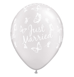 11 inch-es Just Married Butterflies Pearl White Esküvői Lufi (25 db/csomag)