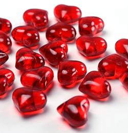 Piros Szív Alakú Kristály hatású Dekorkő - 30 db-os