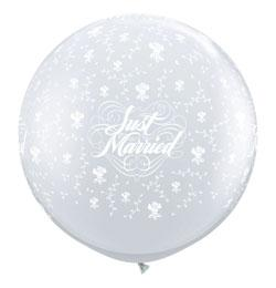 3 feet-es Just Married Flowers-A-Round Diamond Clear Lufi (2 db/csomag)