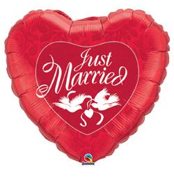 36 inch-es Házasok - Just Married Red és White Esküvői Fólia Lufi