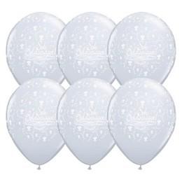 11 inch-es Sok Boldogságot Diamond Clear Esküvői Lufi (25 db/csomag)