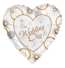 4e6da65ecd 18 inch-es Our Wedding Day Esküvői Szív Fólia Lufi   Léggömb és ...