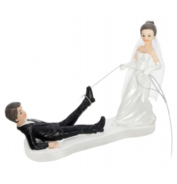 Vőlegényt Oltár Elé Vonszoló Menyasszony Esküvői Pár Tortadísz