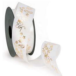 Esküvői Gyűrűs és Virág Mintás Fehér Arany Szalag - 50 m