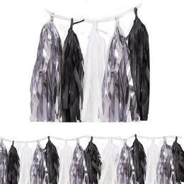 Ezüst-Fekete-Fehér Girland Dekorációs Füzér - 274 cm