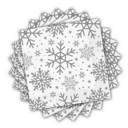 Ezüst Hópehely Mintás Parti Szalvéta Karácsonyra - 33 cm x 33 cm, 16 db-os