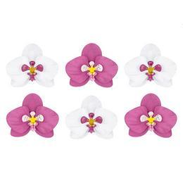 Fehér és Pink Orchidea Papír Dekoráció - 6 db-os