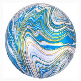 Fehér Kék Arany Márvány Mintás Ultra Shape Marblez Lufi