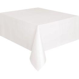 White Műanyag Parti Asztalterítő - 137 cm x 274 cm