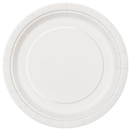 White Papír Parti Tányér - 23 cm, 8 db-os