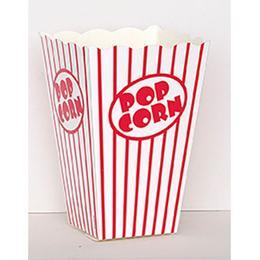 Fehér-Piros Csíkos Popcorn Doboz, 10 db-os