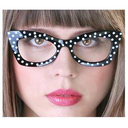 Fehér Pöttyös Mintás Fekete Parti Szemüveg