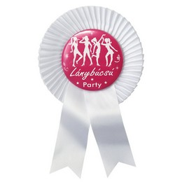 Fehér Szalagos Rószaszín-Fehér Lánybúcsú Party Kitűző