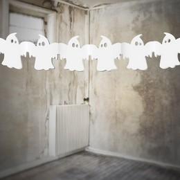 Fehér Szellem Girland Halloweenre - 300 cm