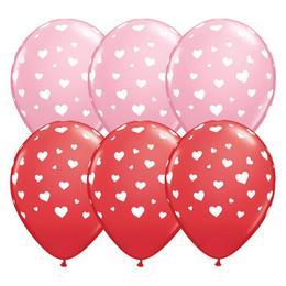 11 inch-es Random Hearts-a-Rnd Red & Pink Lufi (25 db/csomag)