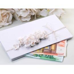 Fehér Elegáns Virágos Pénzboríték Esküvőre