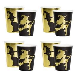 Fekete Arany Boszi és Cica Mintás Pohár Halloween-re, 250 ml, 8 db