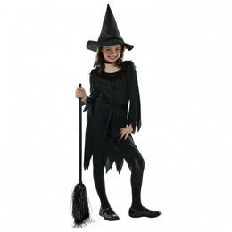 Fekete Boszi Lányka Jelmez Halloweenre - 4-6 éveseknek