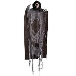 Fekete Csuklyás Szürke Csontváz Szellem Dekoráció, 60 cm-es