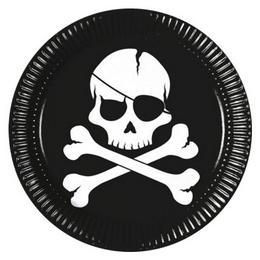 Fekete Koponya Kalóz Mintás Parti Tányér - 23 cm, 8 db-os