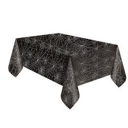 Spider Web Halloween Fekete Parti Asztalterítő - 137 cm x 213 cm