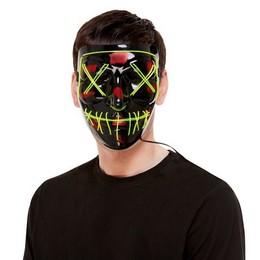 Fekete Zöld LED-es Világító Maszk Halloween-re