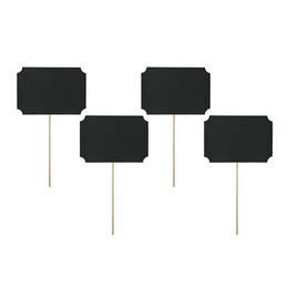 Fekete Feliratozható Tábla Pálcán - 11 cm x 8 cm, 4 db-os