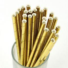 Fényes Arany Papír Parti Szívószál - 10 db-os, 21 cm