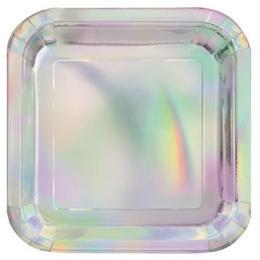 Fényes Ezüst - Hologramos Parti Tányér - 22 cm, 8 db-os