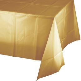 Fényes Metál Arany Műanyag Parti Asztalterítő - 137 cm x 274 cm