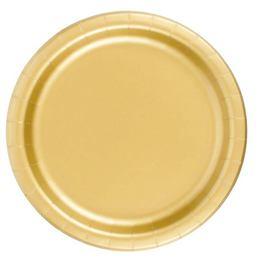 Fényes Metál Arany Papír Parti Tányér - 22 cm, 8 db-os